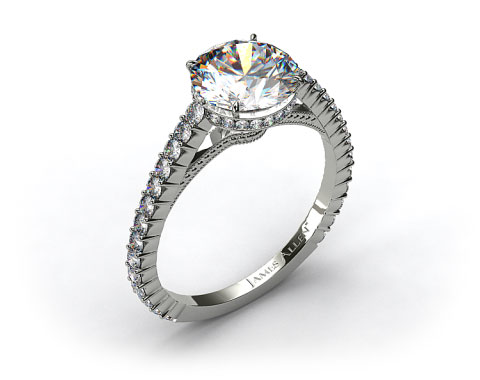 18k White Gold Pave Basket XE110 by Danhov Designer Engagement Ring